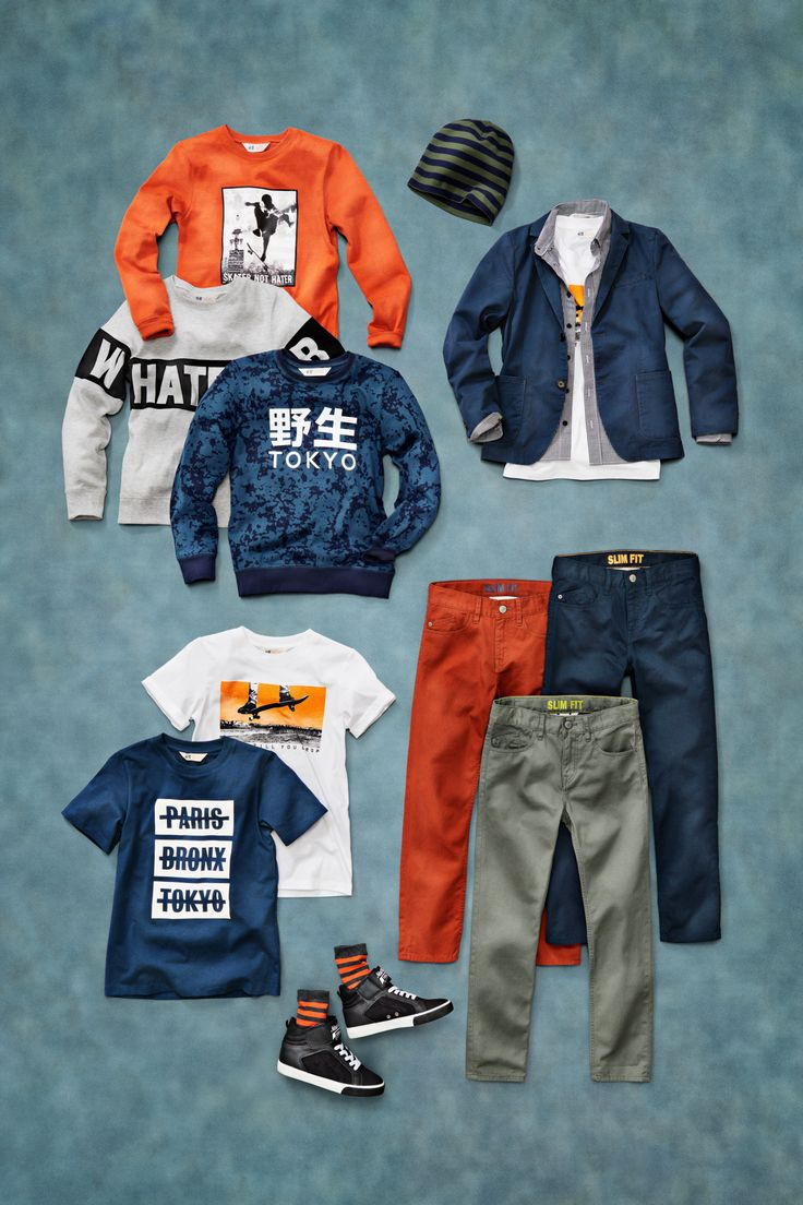 Mix and match with these statement-making boys back to school outfits from H&M. Crisp jackets, rust orange, and worldly prints set the tone for a memorable year.