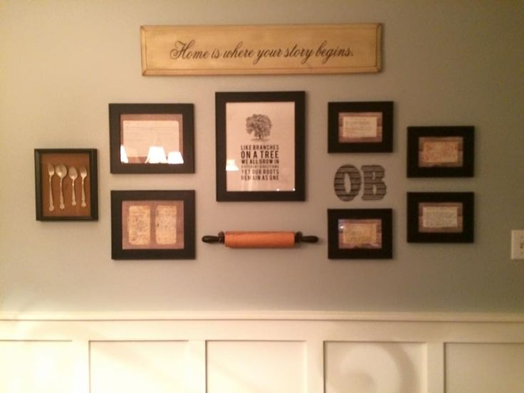 Great idea: frame old recipes & hang family heirloom rolling pins & silverware.