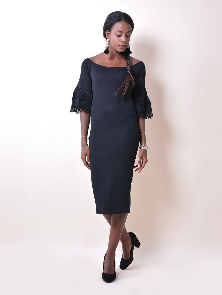 F2107 Φόρεμα Midi με Δαντέλα στα Μανίκια - Decoro - Γυναικεία ρούχα, ανδρικά ρούχα, παπούτσια