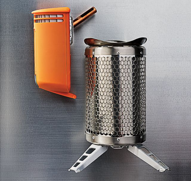 The BioLite camp stove converts the heat it generates into energy—which, in addition to driving a built-in fan that makes the cook fire more efficient, can re-juice your depleted devices via USB.