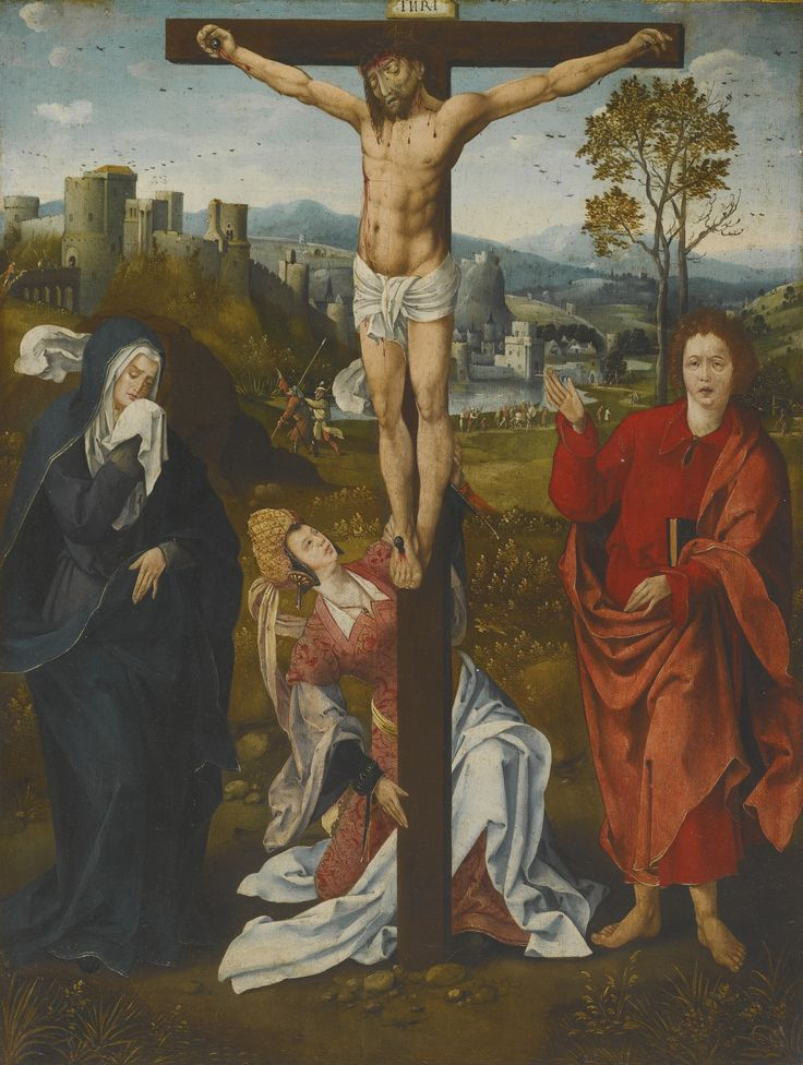 Antwerp School, early 16th century THE CRUCIFIXION WITH SAINTS MARY, MARY MAGDALENE AND JOHN THE EVANGELIST oil on panel 71.8 by 54.6 cm.; 28 1/4  by 21 1/2  in.: