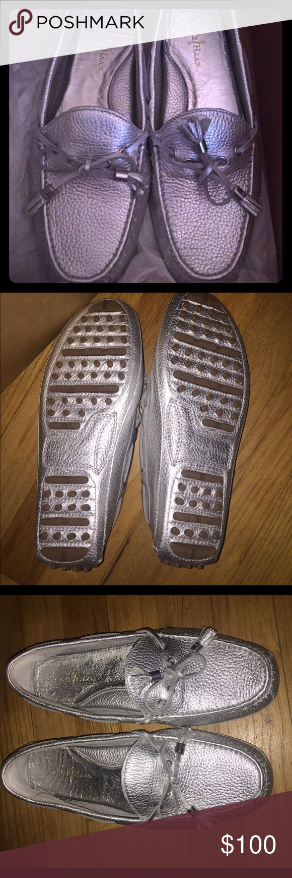 Brand New Cole Haan Grant Driver Ladies Shoe w/box Brand New, never worn Cole Haan Grant Driver Ladies Shoe w/original box!!! Size 8 (too big for me) and a great silver color!! Cole Haan Shoes Flats & Loafers