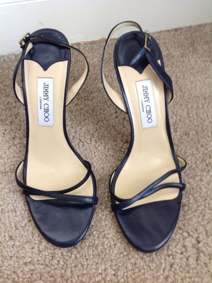 Jimmy Choo Navy Blue Strappy High Heels Size 40 or 10 | eBay