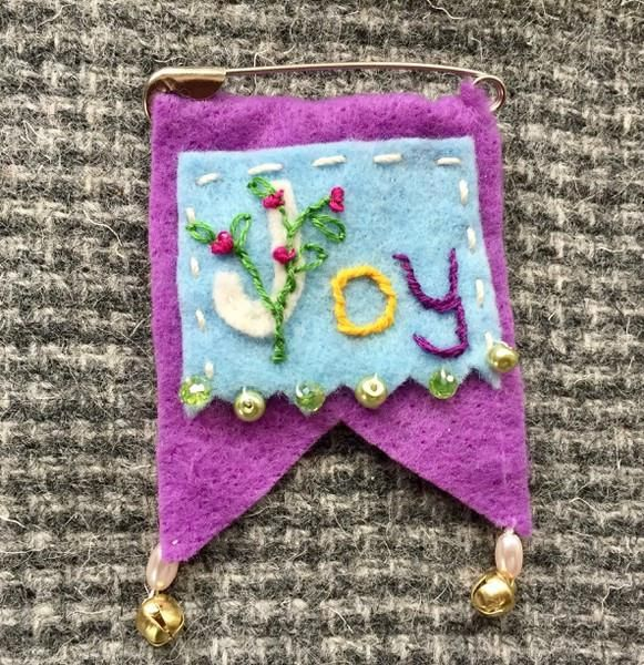 prayer flag pin brooch embroidered with Joy, flowers in lavender