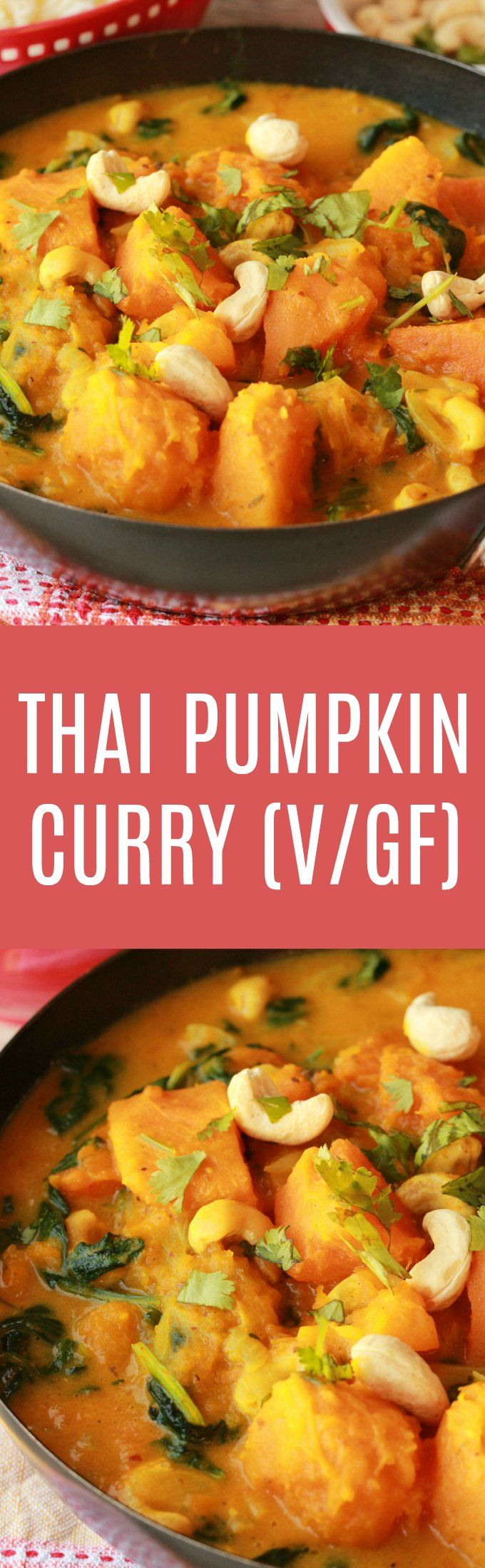 Hearty and satisfying Thai inspired pumpkin curry! This easy 10-ingredient recipe (including the rice!) is ready in less than 45 minutes and makes a fabulously delicious dinner. Vegan | Vegan Dinner | Vegan Entree | Savory | Gluten Free #vegan #pumpkincurry #vegandinner #glutenfree
