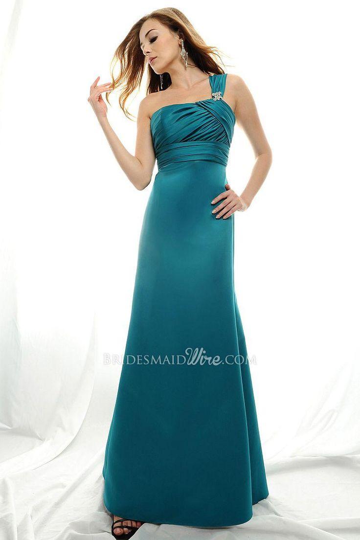 tall fitted a line teal satin long formal gown single shoulder strap designer wedding dresseswedding