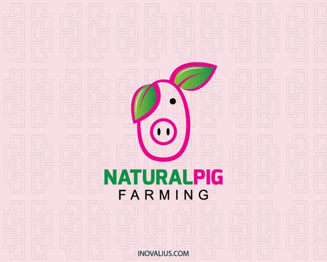 Natural Pig is a logo in the shape of a pig's head with two leaves on top of the head to represent ears with the colors pink, green and black.(farming, pig, leafs, pork, farm, plantation, natural, nature, leaf, natural products, food, pig restaurant, pig food, hog farm, logo for sale, logo design, logo, logotipo).