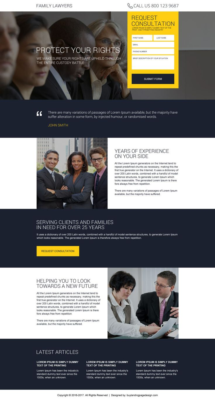 best family lawyer responsive landing page design