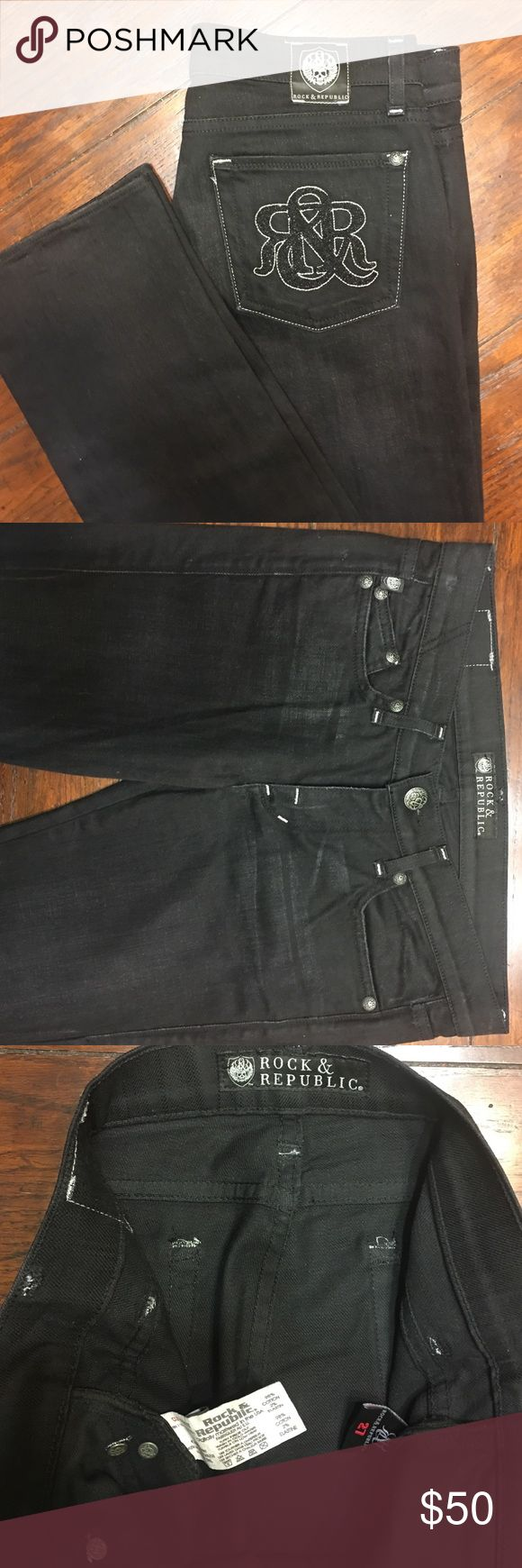 "Autentic not from Kohl's Rock &Republic J Size 27 Preowned in flawless condition, black , straight cut jeans cut # 001727. Inseam 34"" Rock &Republic Jeans Straight Leg"