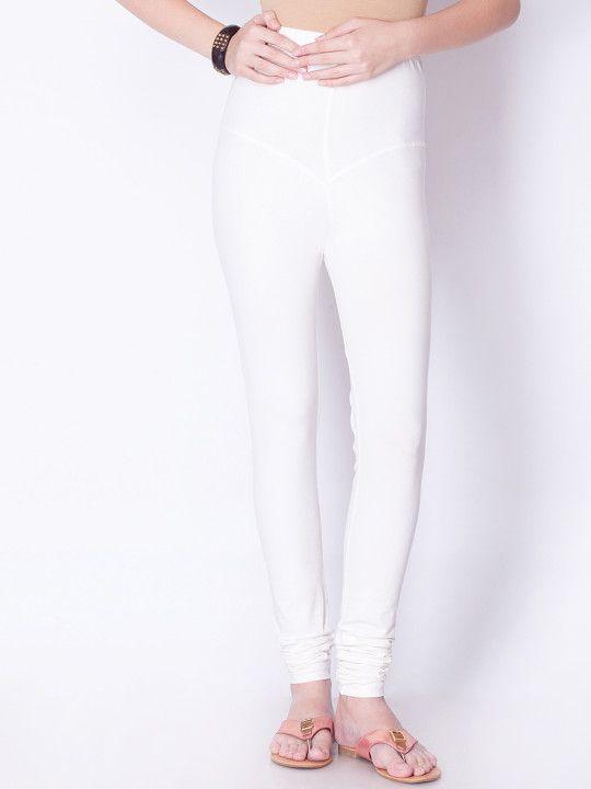 a76ea177a01a35 Dollar Missy Women White Solid Churidar Leggings - | 319 | Leggings ...