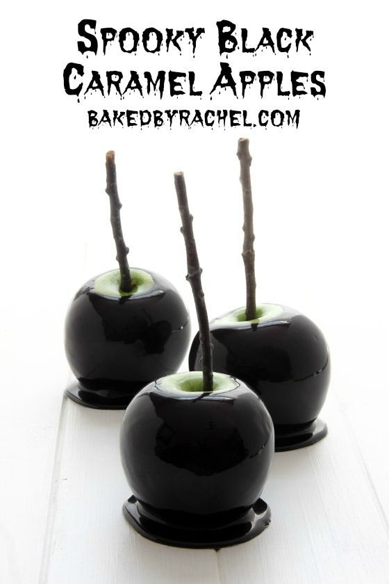 Spooky black caramel apples recipe from @bakedbyrachel Perfect for Halloween!: