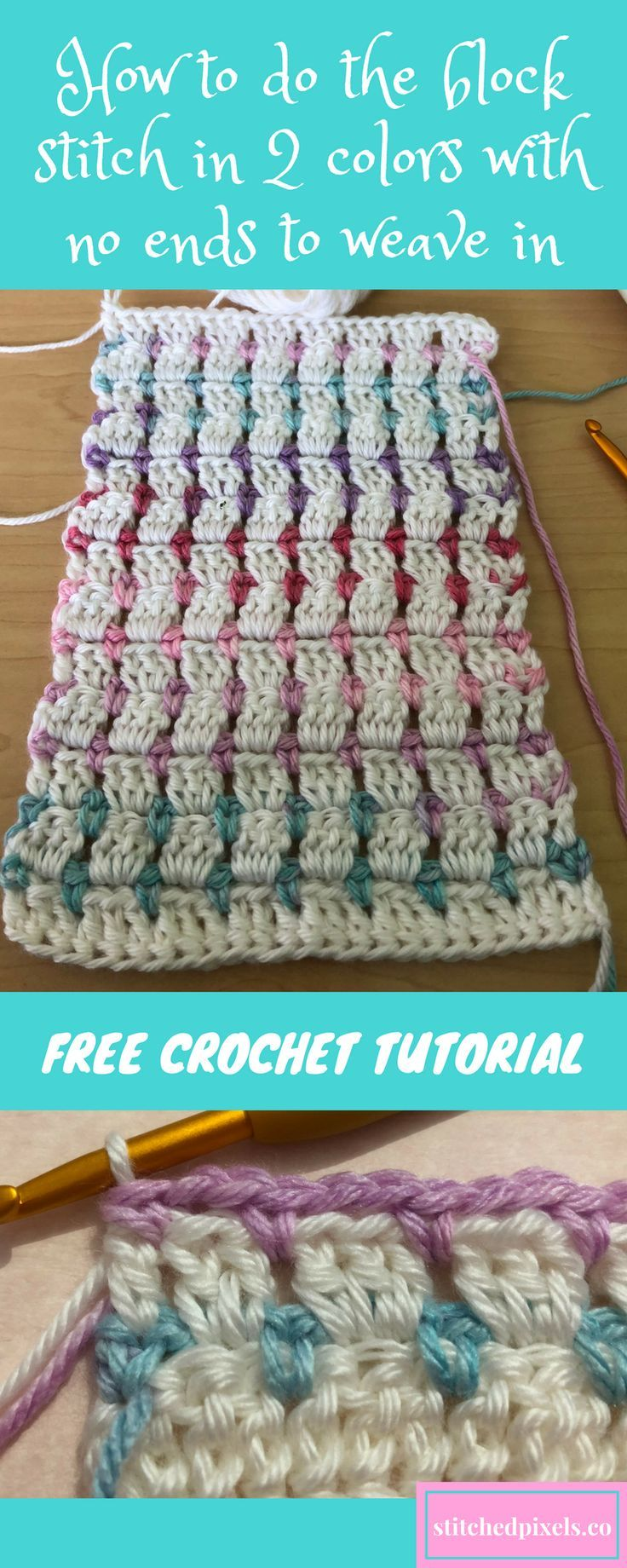 Tired of weaving in ends?  Try this new free crochet tutorial on how to do the block stitch in 2 colors, with no ends to weave in (except at the start and end).