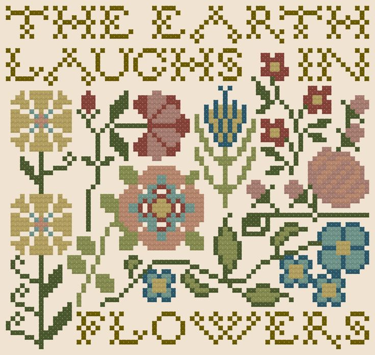 Free Chart... The Earth Laughs in Flowers - April 2014 - Heartstring Samplery