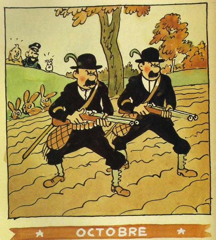 ¤ calendrier Herge Octobre 1944. Les Dupondt à la chasse. #Hergé
