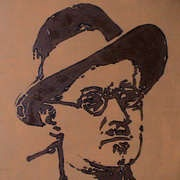 James Joyce, Oil, 12 x 16inch, new work by Dublin artist, Peter Price, a reminder of Bloomsday in Dublin, complete with sudden downpours (there'll be no glass of red in Davy Byrne's for this Dubliner today)
