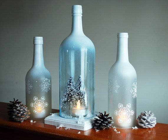 Winter Wonderland Wine Bottle Hurricane Candle Holder by DSdecor, $40.00