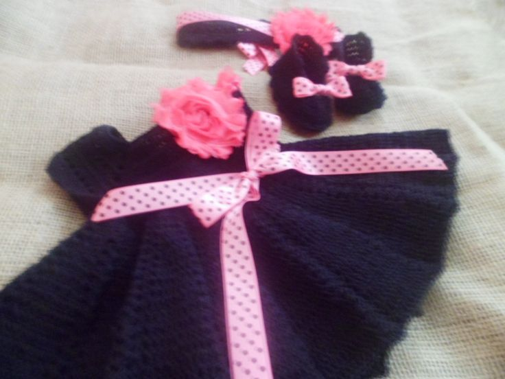set de bebe tejido crochet, black baby dress . handmade crochet