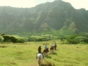 Horseback riding @ Kualoa Ranch, windward side of Oahu near Kaneohe.  Riding through many old movie sets - Jurassic Park, Godzilla, many others.