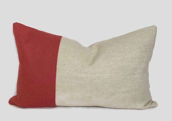 French Beige Linen Pillow Cover in Red