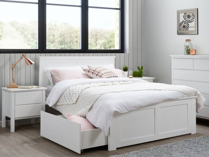 Modern Hardwood White Double Bedroom Suite With Storage