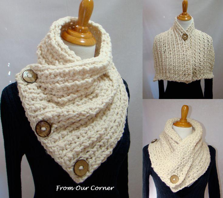 Mothers Day Gift, Crochet Scarf, 3 Button scarf, Wrap cowl, Dallas Dreams Scarf, Cream 3 Buttons Scarf, Shoulder Warp. $36.00, via Etsy.