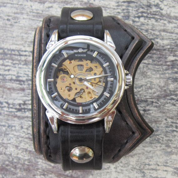 Unique Watch Black Leather Watch Men's Cuff by loversbracelets