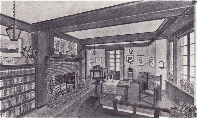 1910 Living Room - Craftsman Style  Source: Ladies Home Journal