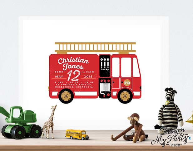 Personalised Fire Engine Wall Art