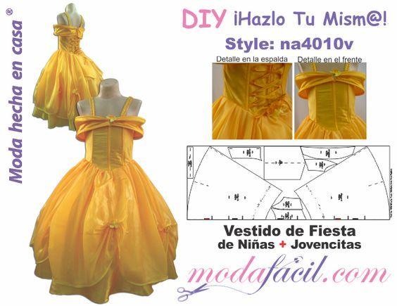 descarga gratis los moldes de vestido de fiesta de niñas y