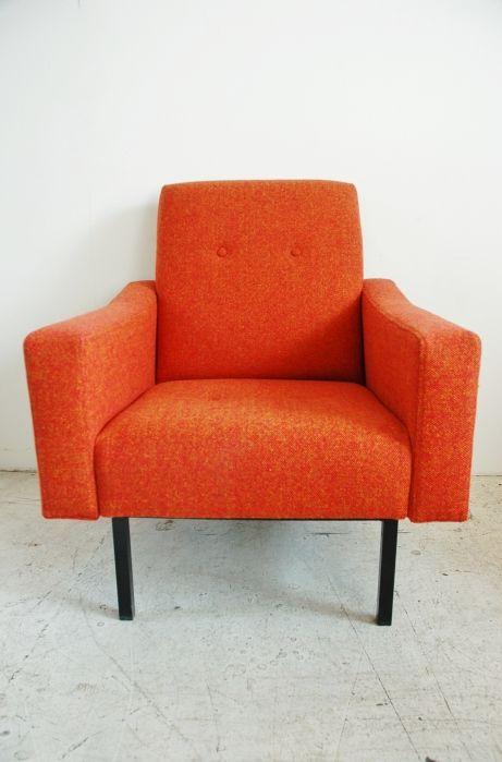 Osi Modern. 1950s retro modernist armchair in orange Bute fabric