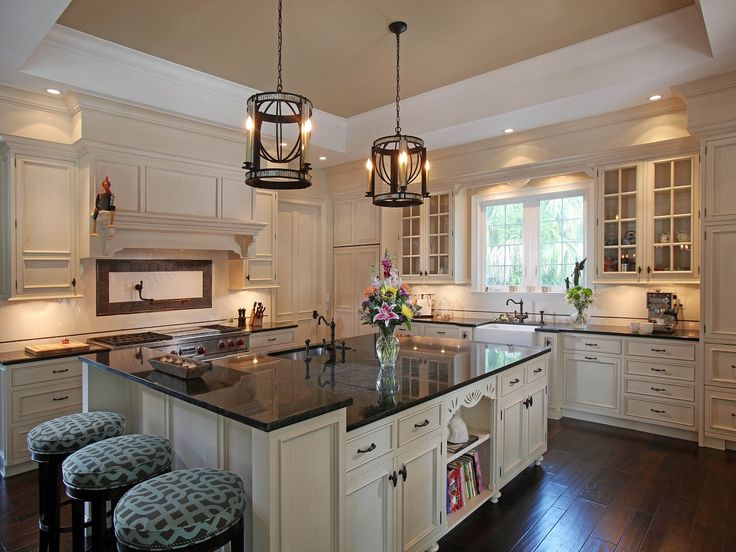 marvelous Cream And Brown Kitchen Cabinets #3: White or cream-colored kitchen cabinets with black granite and dark floors.  Perfect! Love the light fixtures too!