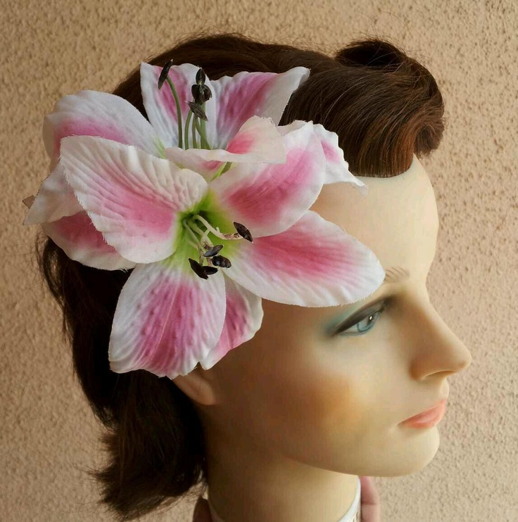 Rockabilly PinUp Double Pink Tiger Lily Hair Clip $9.99 http:\/\/stores ...