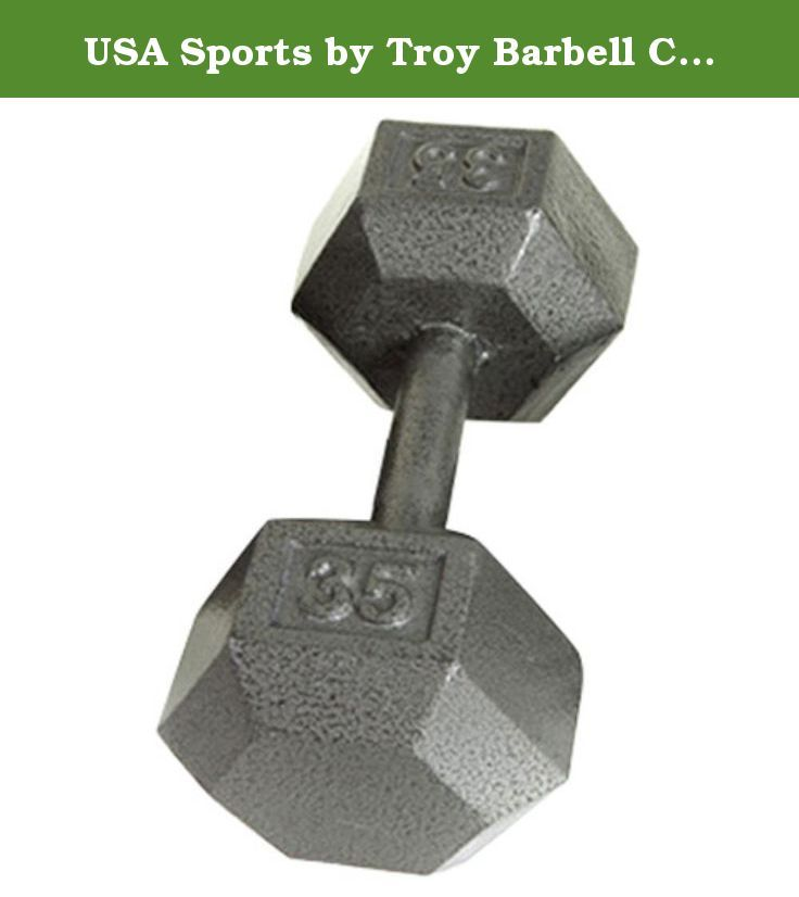 USA Sports by Troy Barbell Cast Iron Hex Dumbbell - 1 lb. The USA Sports by Troy Barbell Cast Iron Hex Dumbbell ranks among the best on the market - though you'd never guess by the price. Sold individually, this dumbbell is crafted of grade-20 cast iron and covered in a resin-based paint that's baked for one hour. The result is a finish that's chip-, abrasion-, and corrosion-resistant. Plus, raised silvertone lettering on the hex-shaped heads make for easy identification. About Troy…