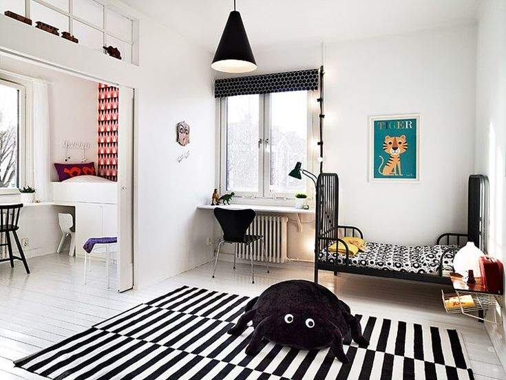 Kids Room Black And White Children Bedroom Design Ideas With White Wood Flooring With Black And White Rugs With Small Bed Ideas For Children With Black