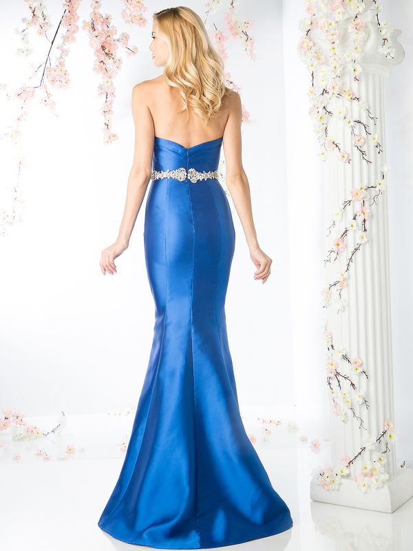 CJ205 Sweetheart Mermaid Gown with Dazzling Belt - Royal, Back View Medium