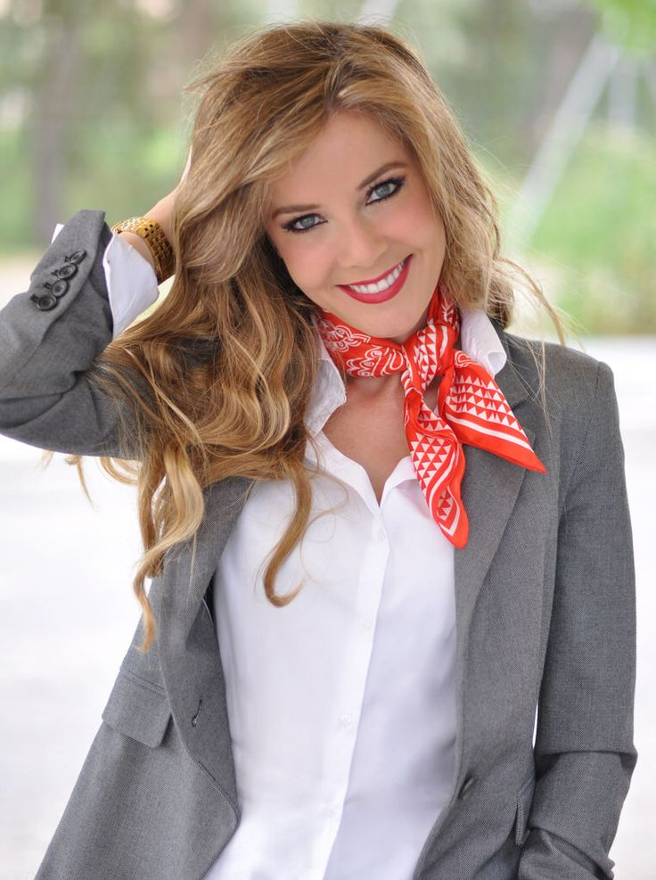Red bandana and grey blazer