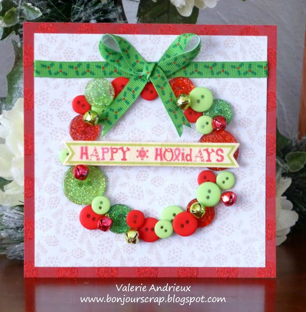 Paper Craft Christmas Card Ideas Part - 33: Buttons Christmas Wreath Card With DCWV Papers, Blue Moon Beads Bells And  Recollections Buttons