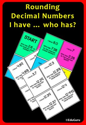 Rounding Decimals I Have...Who Has? Game from EduGuru from EduGuru on TeachersNotebook.com (15 pages)  - Rounding Decimals I have ... who has Game is a WINNER!  56 cards (28 color and 28 black and white).  The purpose of the game is to practice rounding decimals to the nearest tenth, hundredth and whole number.  How the Loopy Games work: Shuffle the cards, t