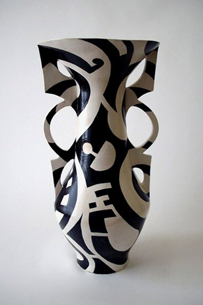 Catherine Warwick black and white abstract vase