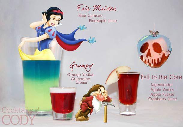 """Cocktail  """"belle jeune fille""""  curaçao bleu , jus d'orange Cocktail """"Grincheux"""" Vodka orange, grenadine, Crème Cocktail """"L'âme du diable"""" jagermeister, Vodka pomme, pomme ridée, jus de cranberry"""