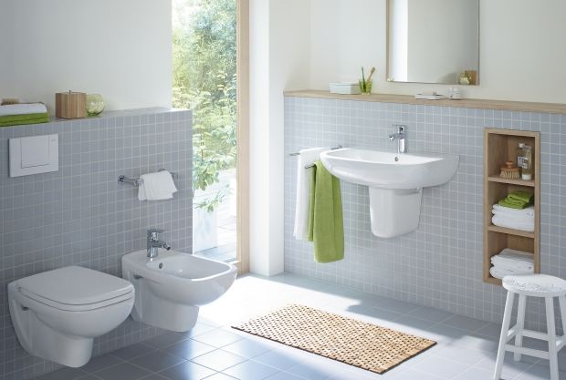 Duravit - Bathroom series: D-Code - washbasins, toilets, bidets, urinals, tubs, showers, bath room furniture and accessories from Duravit.  Wall hung fixtures make cleaning a breeze!