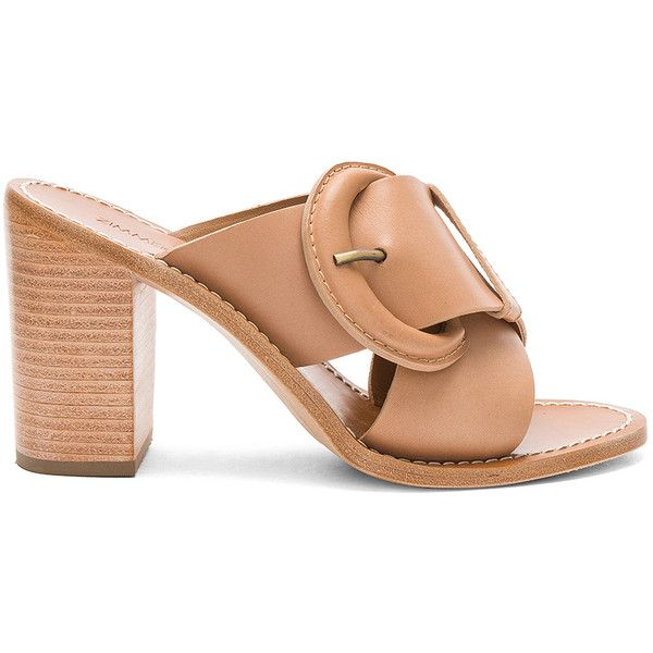 Zimmermann Buckled Mule (1.620 BRL) ❤ liked on Polyvore featuring shoes, heels, slip-on shoes, heeled mules shoes, high heel shoes, mule shoes and high heel mule shoes