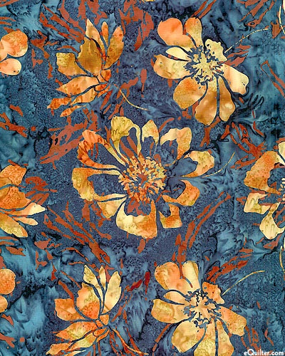 eQuilter Windblown Wildflower Batik - Steel Blue - I really appreciate the beauty of batiks