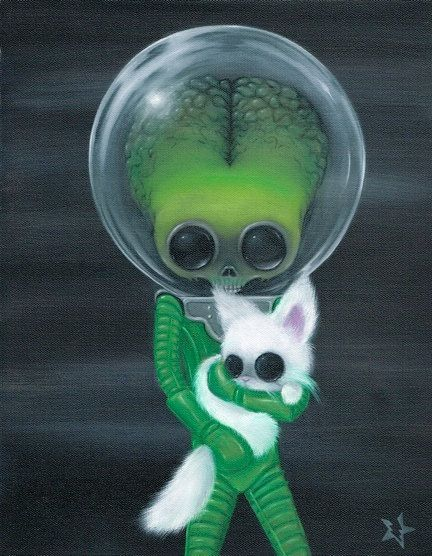 even martians love cats! - Lowbrow Sugar Fueled Mars Attacks Alien Martian Cat Kitty Keane, via Etsy.