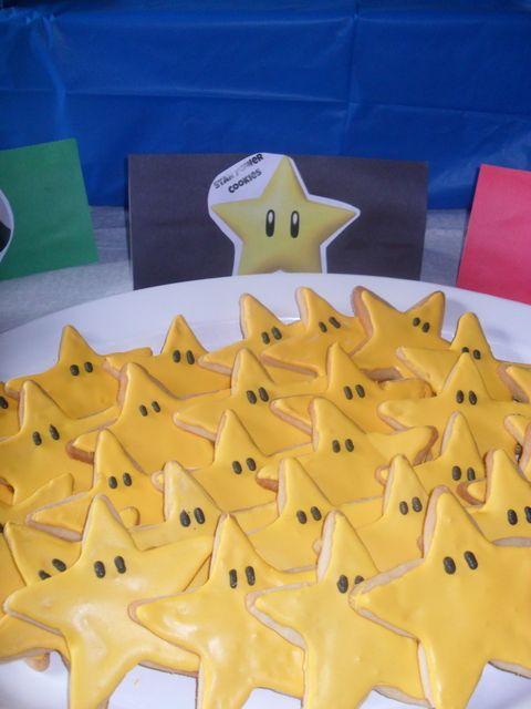 Star Cookies at a Super Mario Party #supermario #partycookies