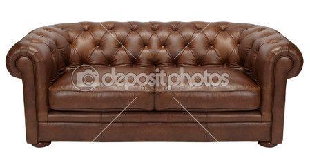 Imagen de un sofá de cuero marrón moderno sobre fondo blanco — Foto de Stock