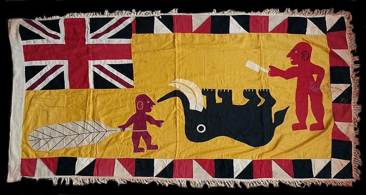 Asafo111 - Very fine museum quality flag from the first half of the C20th with an unusual image where an inverted elephant is framed by two men, one holding a cleaver, the other a large palm leaf. I have not seen another version of this imagery and have no idea what proverb it represents. This is an extremely well executed flag in a classic style that was associated with a small group of Asafo flag artists in the villages of Saltpond and Kromantse.