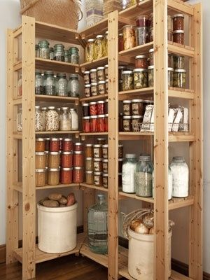 corner shelving unit....for basement to store canning items [and I need them all. tiny old farmhouse. jh]