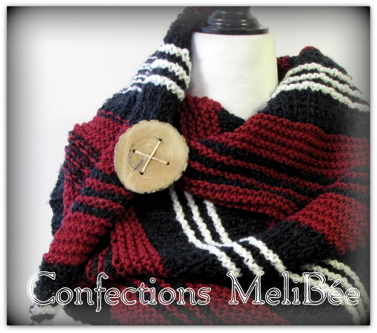 Knitted shawl/ Knitted scarf/ Handmade - Shawl (Foulard) tricoté à la main by ConfectionsMeliBee on Etsy