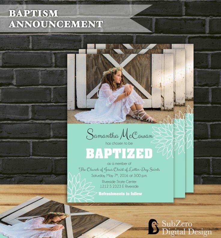 free online christening invitation making%0A LDS Baptism Announcement for Girls  Colorful SunBurst Flower  Photo  Invitation Customized Printable Digital File by SubZeroDigitalDesign on Etsy